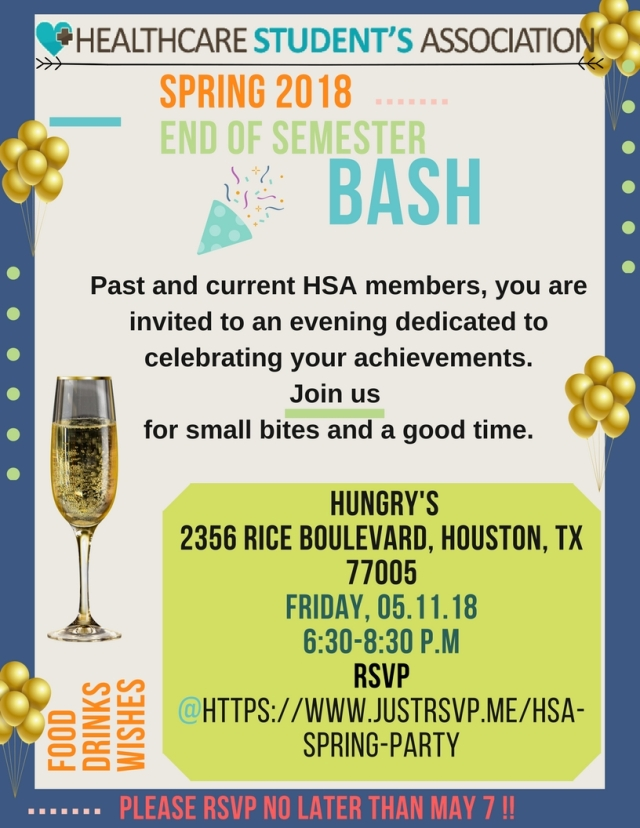 HSA celebration Spring 2018 Flyer
